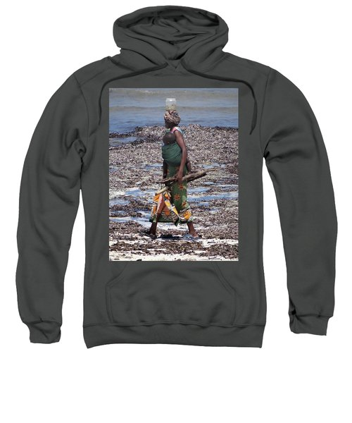 African Woman Collecting Shells 1 Sweatshirt