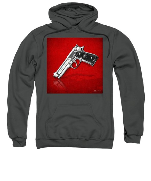 Beretta 92fs Inox Over Red Leather  Sweatshirt by Serge Averbukh