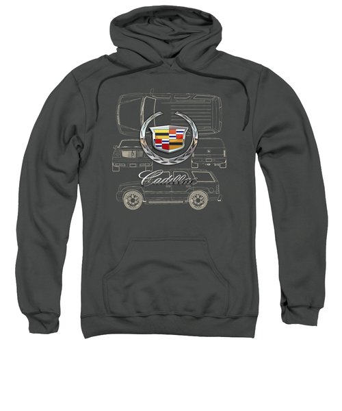 Cadillac 3 D Badge Over Cadillac Escalade Blueprint  Sweatshirt