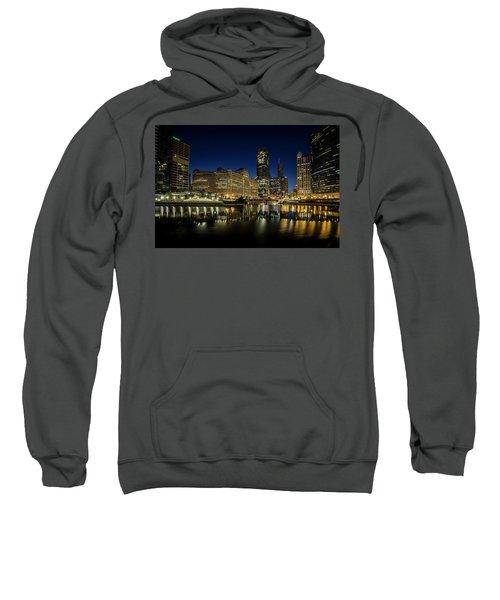 Chicago River And Skyline At Dawn Sweatshirt