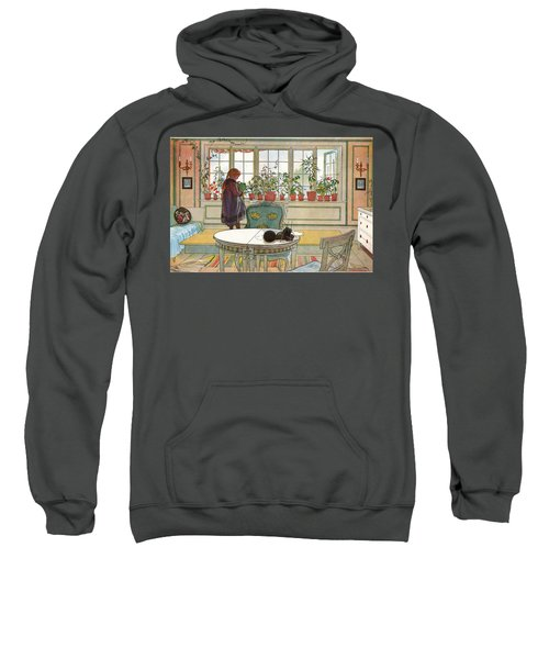 Sweatshirt featuring the painting Flowers On The Windowsill by Carl Larsson