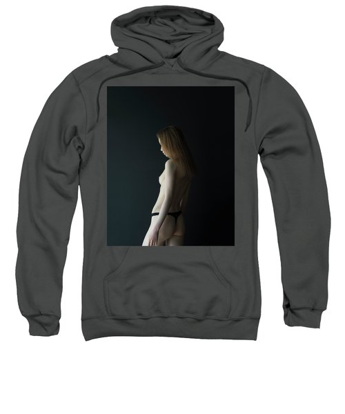 Girl In Front Of Black Wall Sweatshirt
