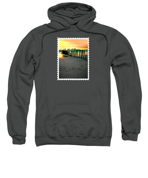 Sea Gulls On Pilings  At Sunset Sweatshirt