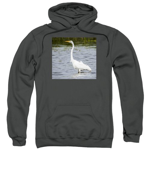 Sweatshirt featuring the photograph The Great White Egret by Ricky L Jones
