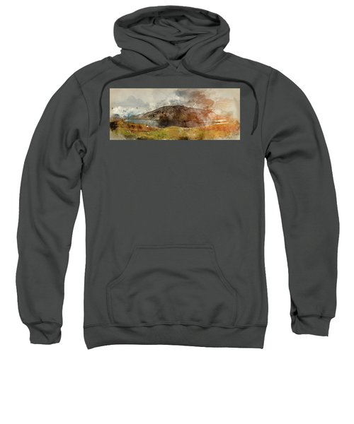 Watercolor Painting Of Beautiful Sunset Landscape Image Of Wast  Sweatshirt