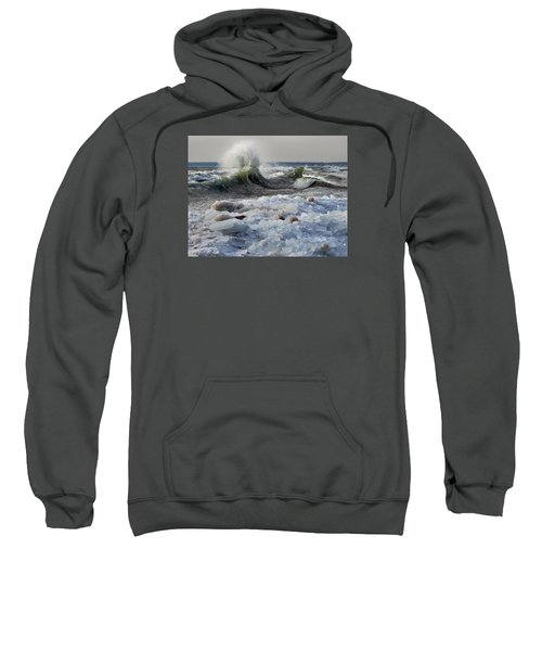 Winter Waves At Whitefish Dunes Sweatshirt