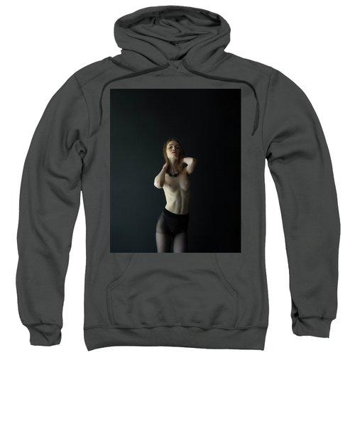 Young Woman In Pantyhose Sweatshirt
