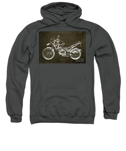 2010 Bmw G650gs Vintage Blueprint Brown Background Sweatshirt