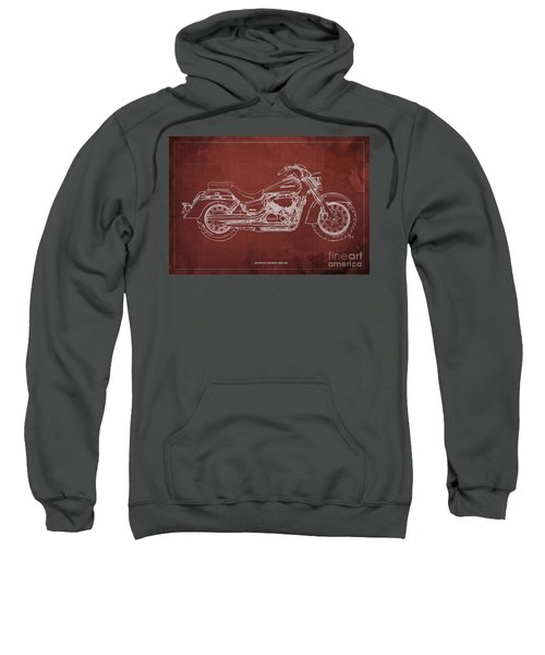 2018 Honda Shadow Aero Abs Blueprint, Red Background Sweatshirt