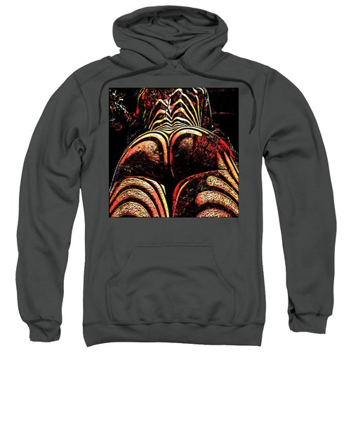 Sweatshirt featuring the digital art 2574s-res Zebra Striped Booty Rendered As Abstract Oil Painting by Chris Maher
