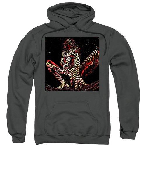 Sweatshirt featuring the digital art 2669s-ak Squatting Nude Rendered As Abstract Painting by Chris Maher