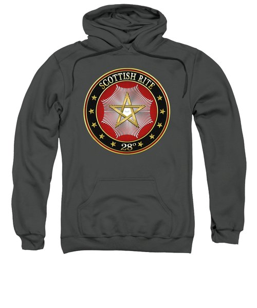 28th Degree - Knight Commander Of The Temple Jewel On Red Leather Sweatshirt by Serge Averbukh