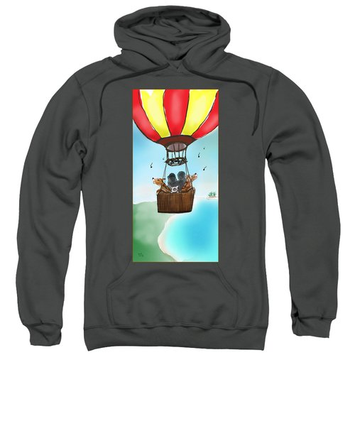 3 Dogs Singing In A Hot Air Balloon Sweatshirt