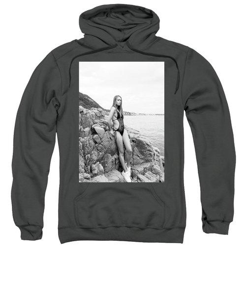 Girl In Black Swimsuit Sweatshirt