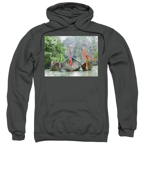 Traditional Long Boat In Thailand Sweatshirt