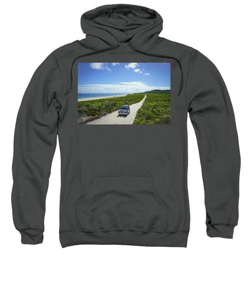 4wd Car Exploring Remote Track On Sand Island Sweatshirt