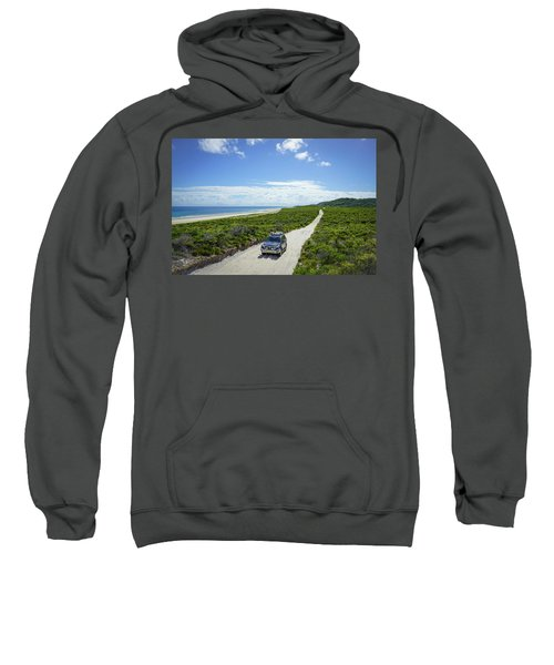 4wd Car Exploring Remote Track On Sand Island Sweatshirt