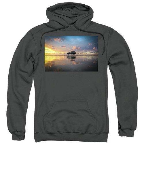 4wd Vehicle And Stunning Sunset Reflections On Beach Sweatshirt