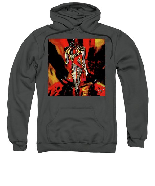Sweatshirt featuring the digital art 5335s-mak Figure Art Rendered In Hot Red Palette Knife Style by Chris Maher