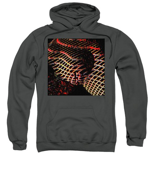 Sweatshirt featuring the digital art 5502s-mak Abstract Vulval Portrait In Red by Chris Maher