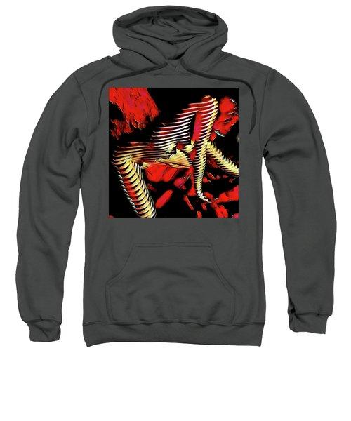 5787s-mak Nude Woman Art Rendered In Red Palette Knife Style Sweatshirt