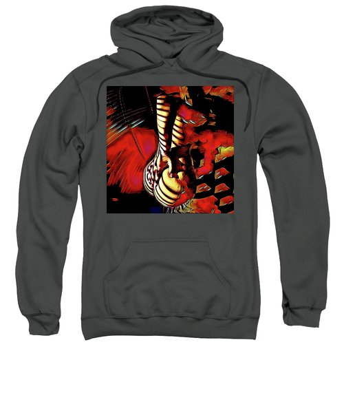 Sweatshirt featuring the digital art 6778s-nlj Nude Hand On Back Striped Art Rendered In Red Palette Knife Style by Chris Maher