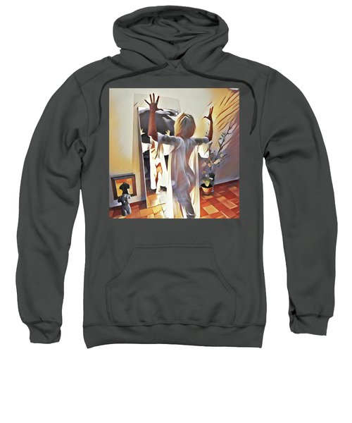 9906s-dm Woman Confronts Herself In Mirror Sweatshirt