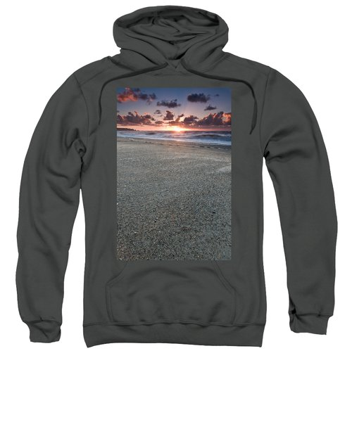 A Beach During Sunset With Glowing Sky Sweatshirt