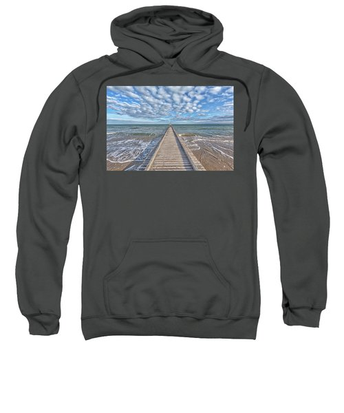 A Dock Leads To The Mediterranean Sea At The Beach Of Lido Die Jesolo, Italy Sweatshirt