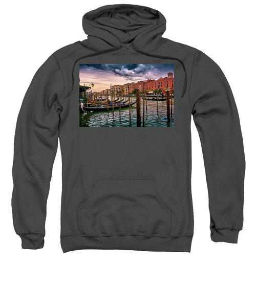 Vintage Buildings And Dramatic Sky, A Dreamlike Seascape In Venice Sweatshirt