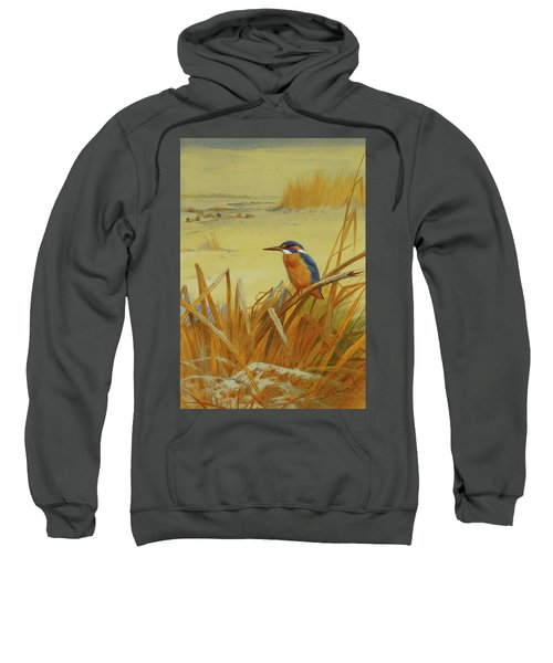 A Kingfisher Amongst Reeds In Winter Sweatshirt by Archibald Thorburn