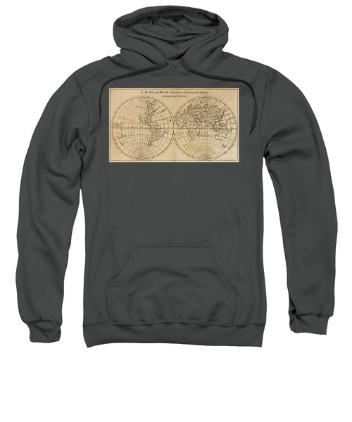 A Map Of The World On Which Is Delineated The Voyage Of Robinson Crusoe Sweatshirt