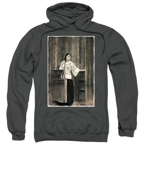 A Model In A Period Costume. Sweatshirt
