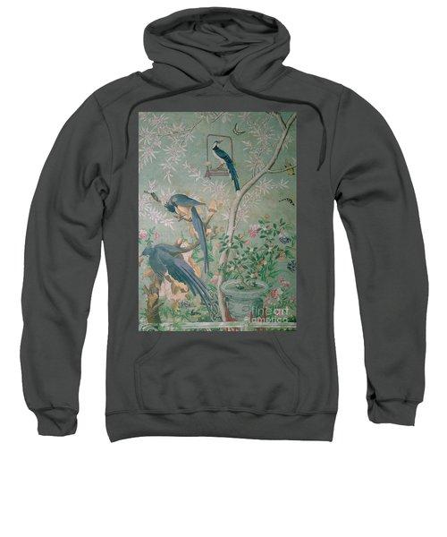 A Pair Of Magpie Jays  Vintage Wallpaper Sweatshirt by John James Audubon