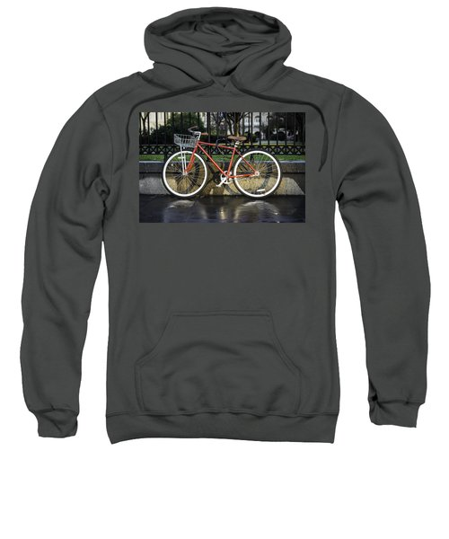 A Red Bicycle Near Jackson Square, New Orleans, Louisian Sweatshirt