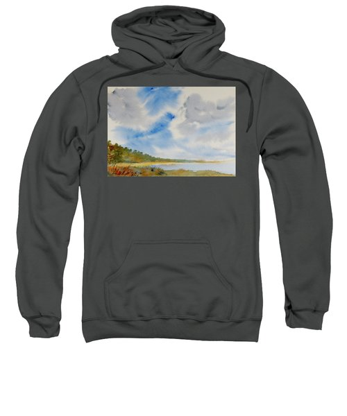 A Secluded Inlet Beneath Billowing Clouds Sweatshirt