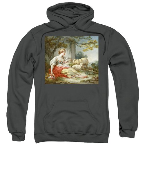 A Shepherdess Seated With Sheep And A Basket Of Flowers Near A Ruin In A Wooded Landscape Sweatshirt