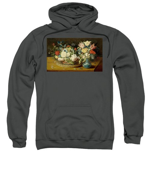 A Still Life With Flowers In A Woven Basket And A Floral Bouquet Sweatshirt