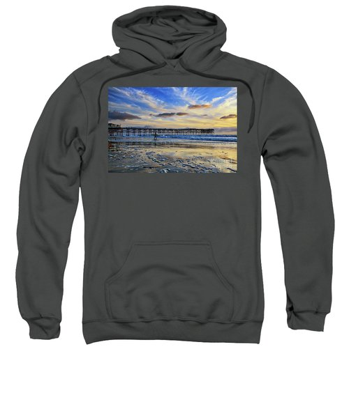 A Surfer Heads Home Under A Cloudy Sunset At Crystal Pier Sweatshirt