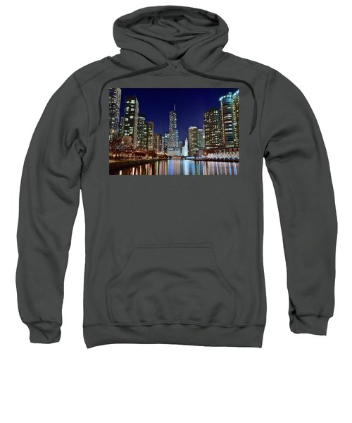 A View Down The Chicago River Sweatshirt by Frozen in Time Fine Art Photography