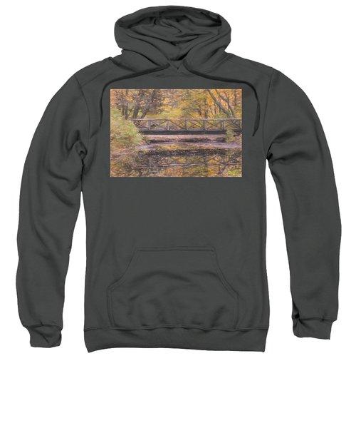 A Walking Bridge Reflection On Peaceful Flowing Water. Sweatshirt