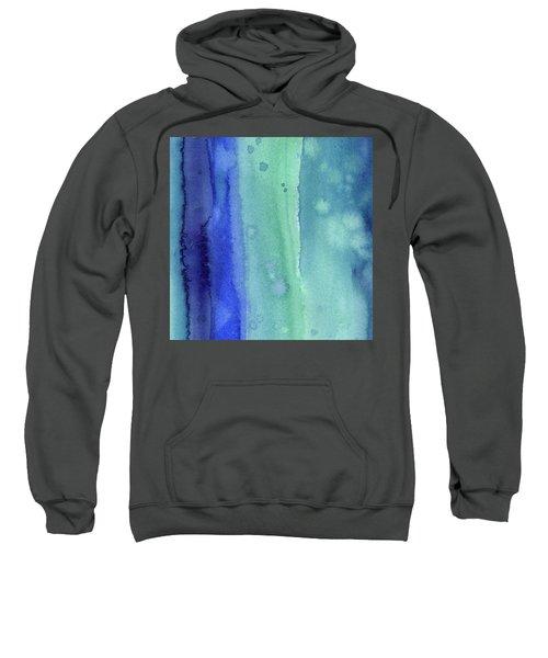 Abstract Vertical Watercolor Aqua Stripes Sweatshirt