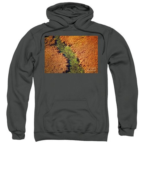 Aerial Farm Stream Lillies  Sweatshirt