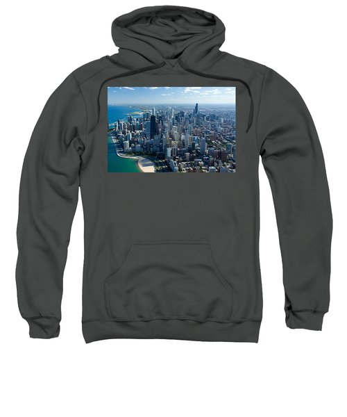 Aerial View Of A City, Lake Michigan Sweatshirt