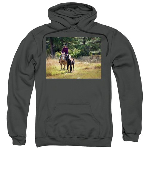 Afternoon Ride In The Sun - Cowgirl Riding Palomino Horse With Foal Sweatshirt