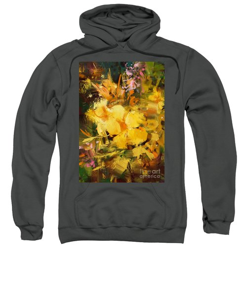 Sweatshirt featuring the painting Allamanda by Tithi Luadthong