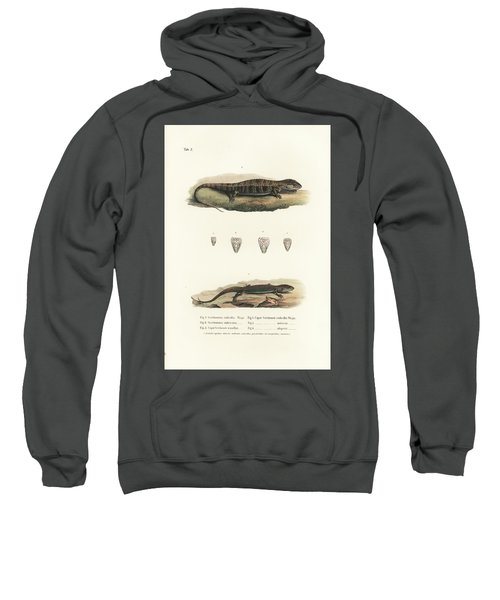 Sweatshirt featuring the drawing Alligator Lizards From Mexico by Friedrich August Schmidt