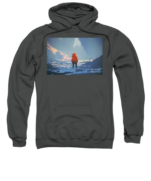 Sweatshirt featuring the painting Alone In Winter by Tithi Luadthong