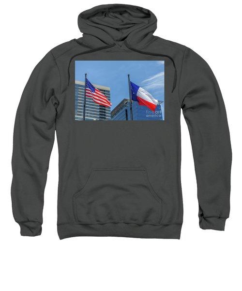 American And Texas Flag On Top Of The Pole Sweatshirt