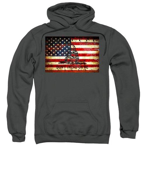 American Flag And Viper On Rusted Metal Door - Don't Tread On Me Sweatshirt